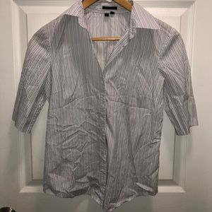 Theory Short Sleeve Striped Button Down